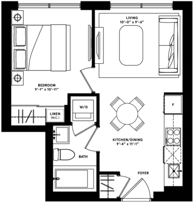 PARIS-1 BEDROOM- 420 SQ.FT